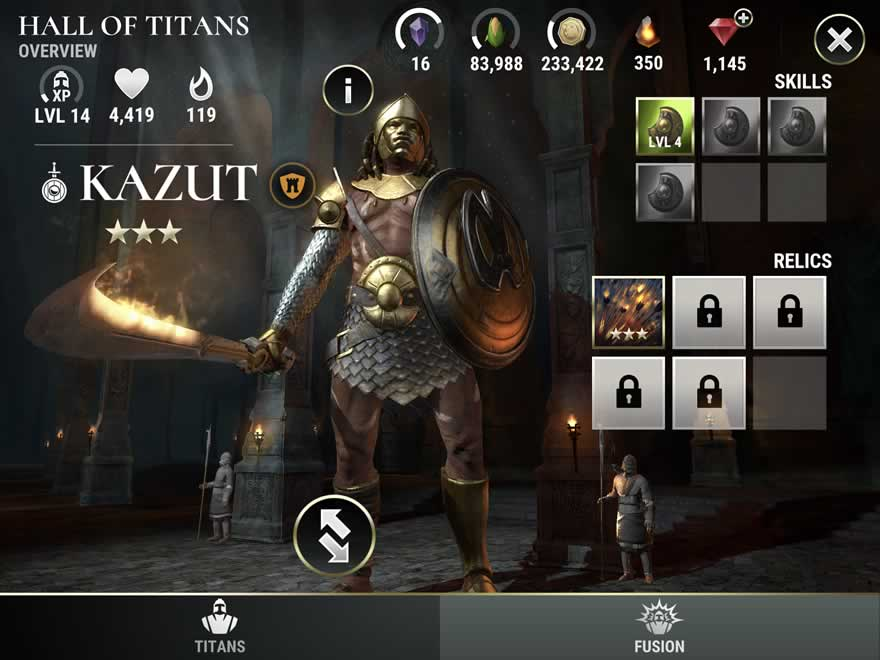 Dawn of Titans - Titan Screen