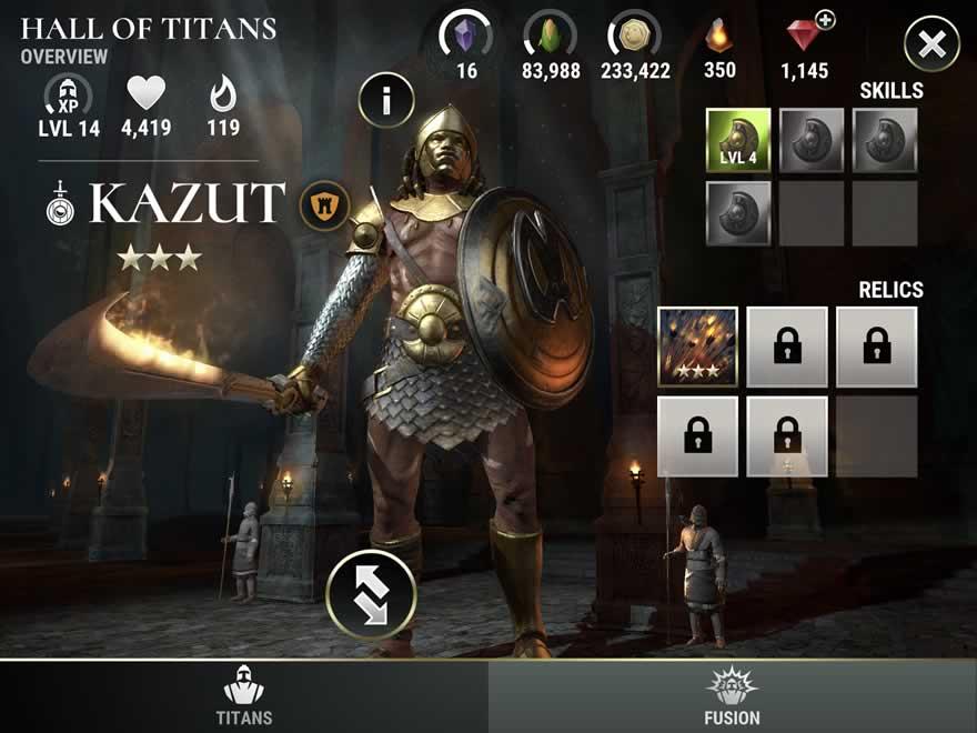 Dawn of Titans - Titan Screen